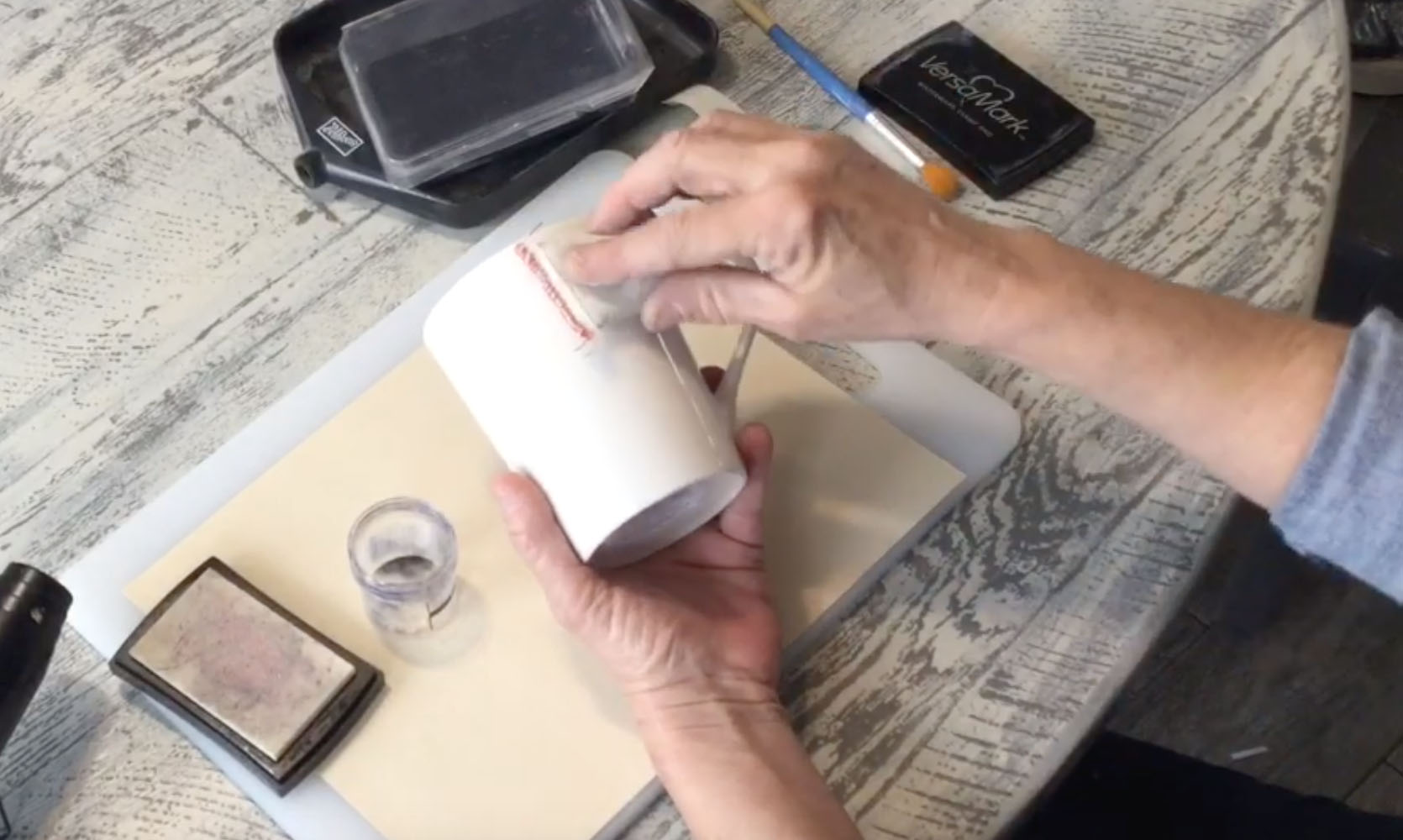 anti-static pad on project surface for heat embossing