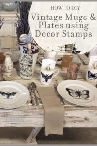 DIY Home Decor with cheap mugs and plates with IOD stamp and embossing