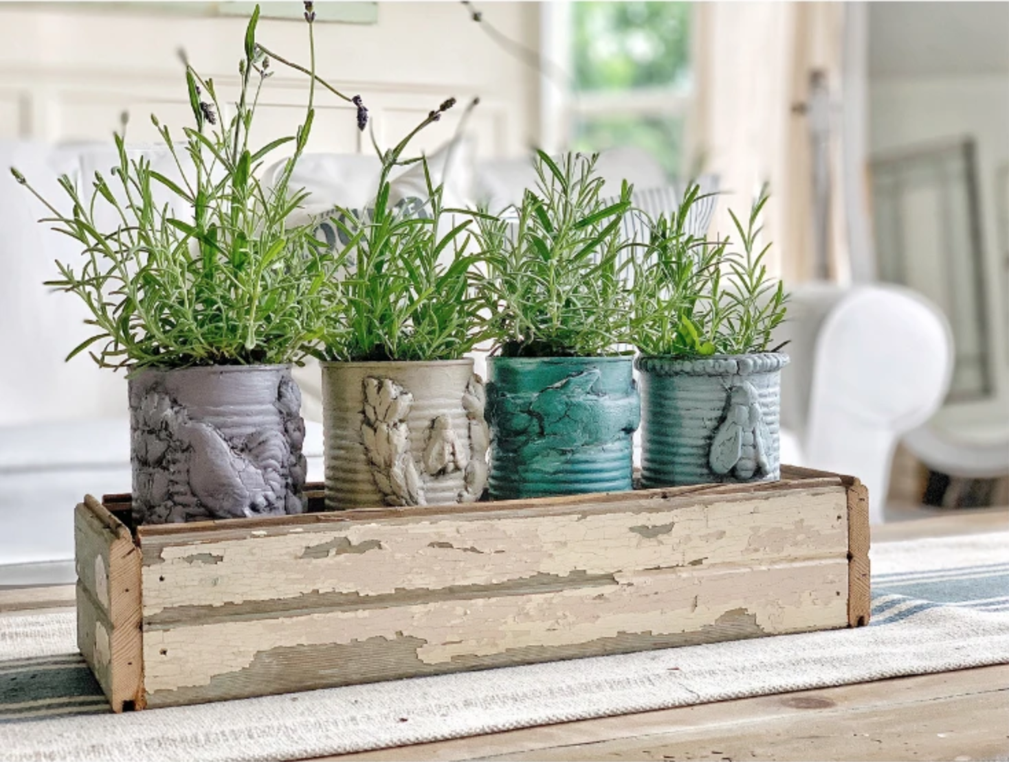 Upcycle tin can idea as planters with IOD moulds