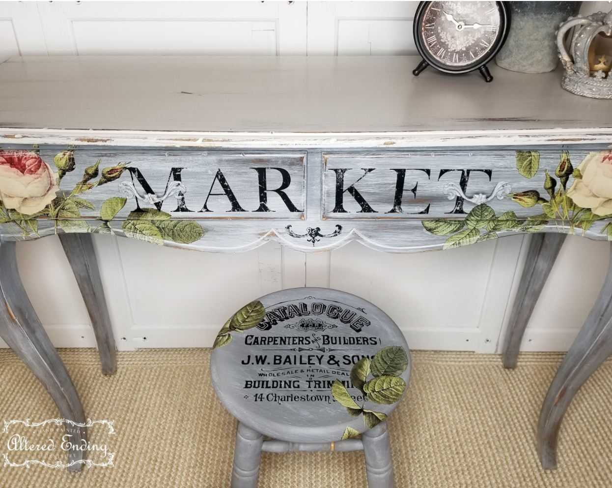 Hall table makeover with floral furniture transfer