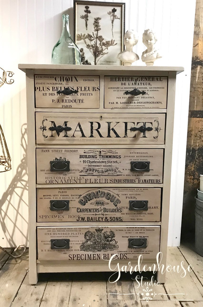 Chalk paint dresser with Farmhouse rub on decal
