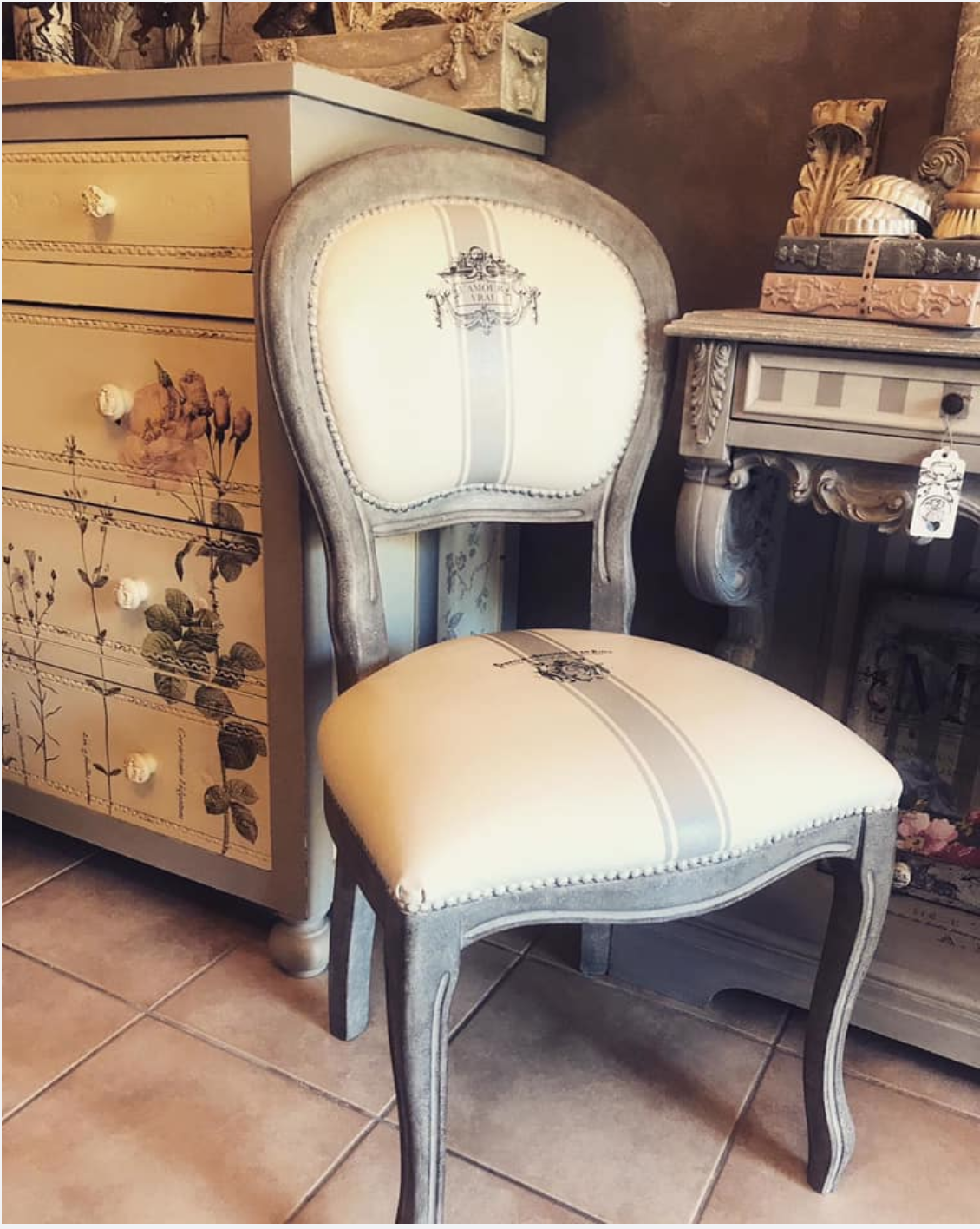 French country cottage DIY chair makeover with Iron Orchid Designs rub on furniture decals