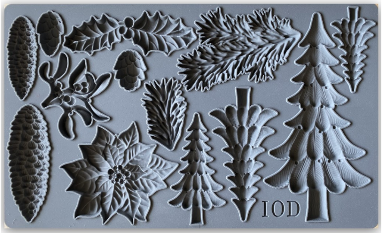 IOD Christmas tree mould with pinecone molds by Iron Orchid Designs