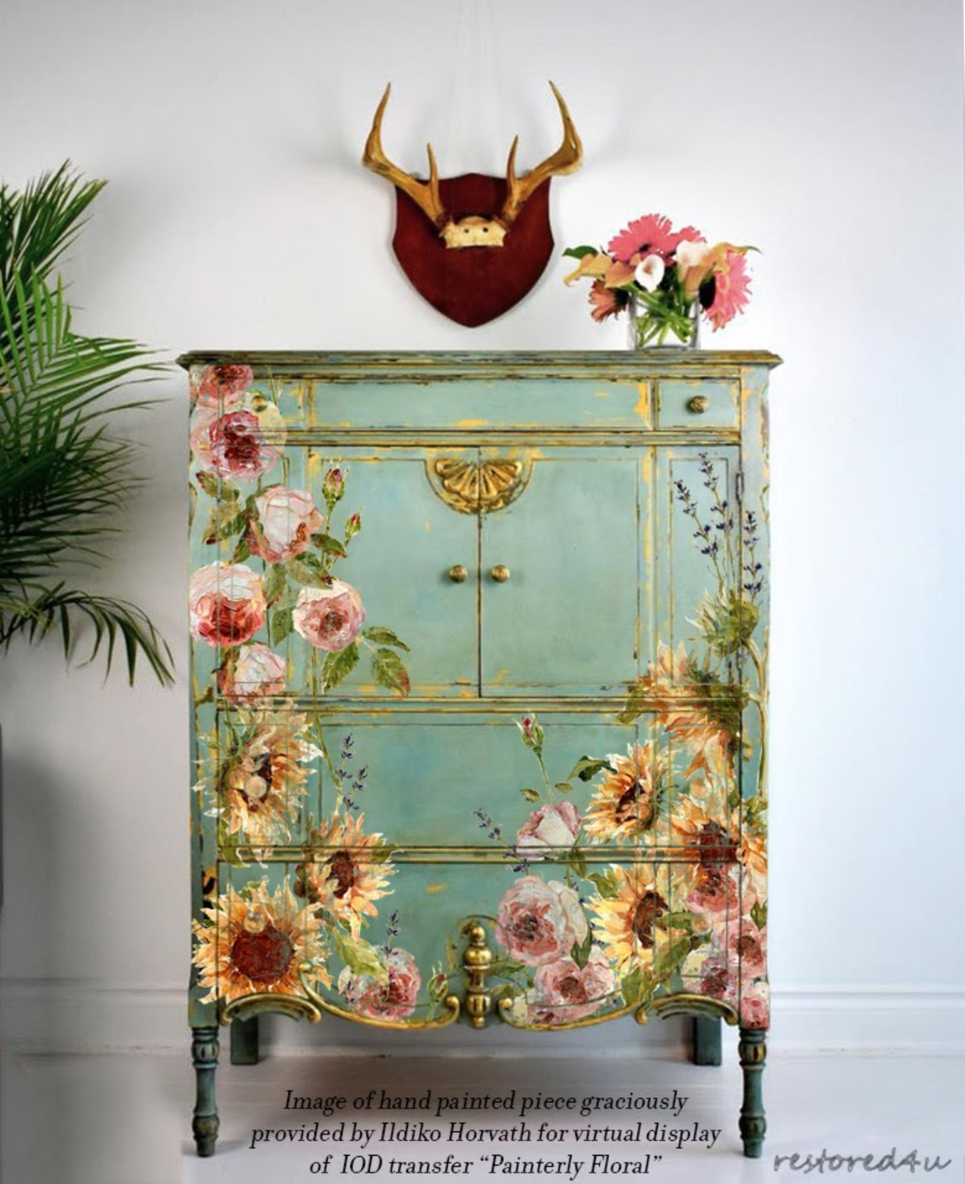 floral painted dresser with sunflowers, roses and lavender using IOD transfers 2020